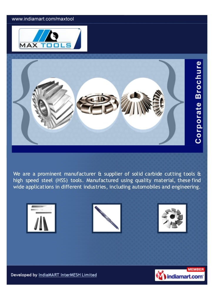 We are a prominent manufacturer & supplier of solid carbide cutting tools &high speed steel (HSS) tools. Manufactured usin...