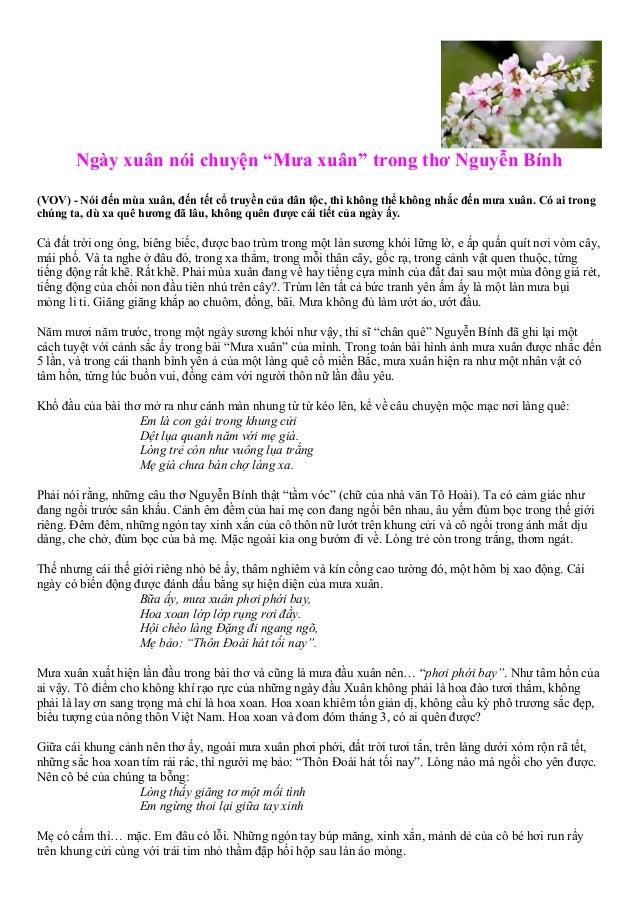 """Ngày xuân nói chuyện """"Mưa xuân"""" trong thơ Nguyễn Bính (VOV) - Nói đến mùa xuân, đến tết cổ truyền của dân tộc, thì không t..."""