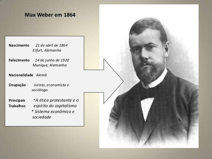 Max Weberem 1864<br />Nascimento      21 de abril de 1864                      <br />Erfurt, Alemanha<br />Falecimento   1...
