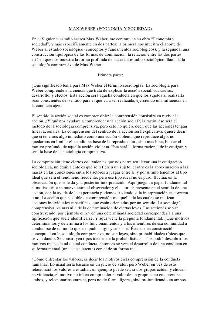 """MAX WEBER (ECONOMÍA Y SOCIEDAD)<br />En el Siguiente estudio acerca Max Weber, me centrare en su obra """"Economía y sociedad..."""