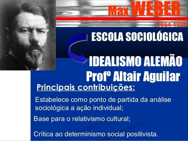 Max WEBER  1864-1920  ESCOLA SOCIOLÓGICA  IDEALISMO ALEMÃO  Profº Altair Aguilar  Principais contribuições:  Estabelece co...