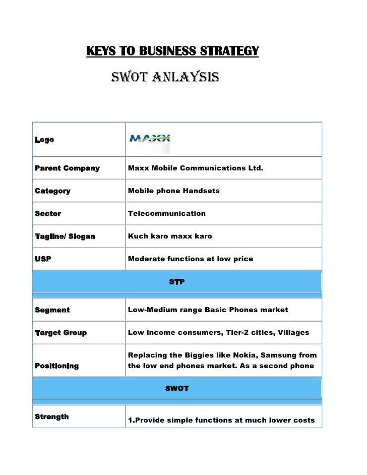 KEYS TO BUSINESS STRATEGY<br />                   SWOT ANLAYSIS<br />LogoParent CompanyMaxx Mobile Communications Lt...