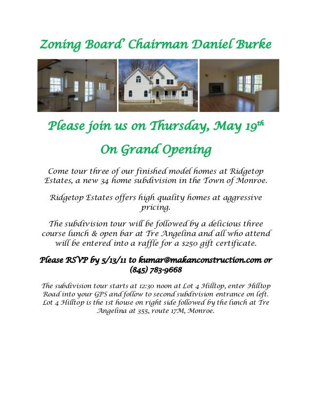 Zoning Board' Chairman Daniel Burke  Please join us on Thursday, May 19th                  On Grand Opening  Come tour thr...