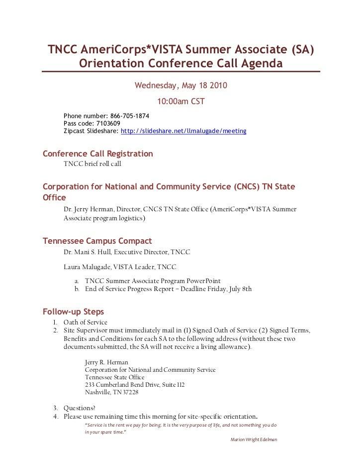 May 18, 2011 sa orientation conference call agenda