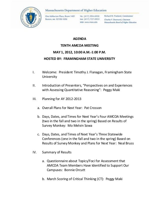 AGENDATENTH AMCOA MEETINGMAY 1, 2012, 10:00 A.M.-1:00 P.M.HOSTED BY: FRAMINGHAM STATE UNIVERSITYI. Welcome: President Timo...