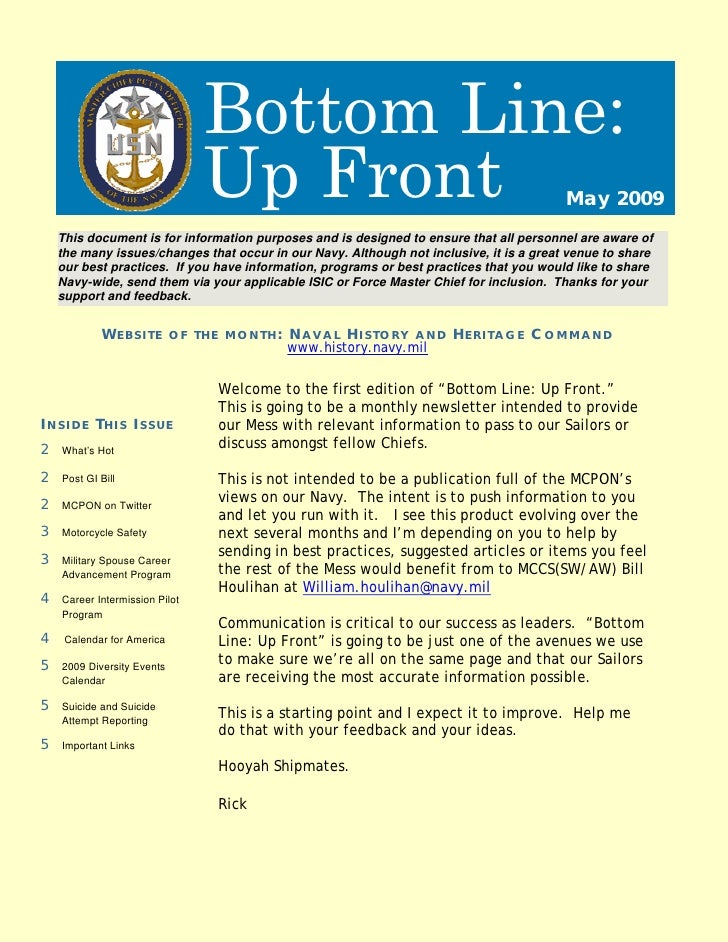 Bottom Line:                                 Up Front                                                 May 2009     This do...
