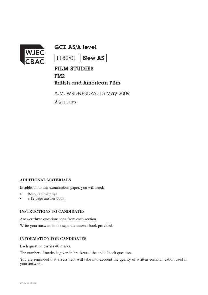 GCE AS/A level                        1182/01         New AS                       FILM STUDIES                       FM2 ...