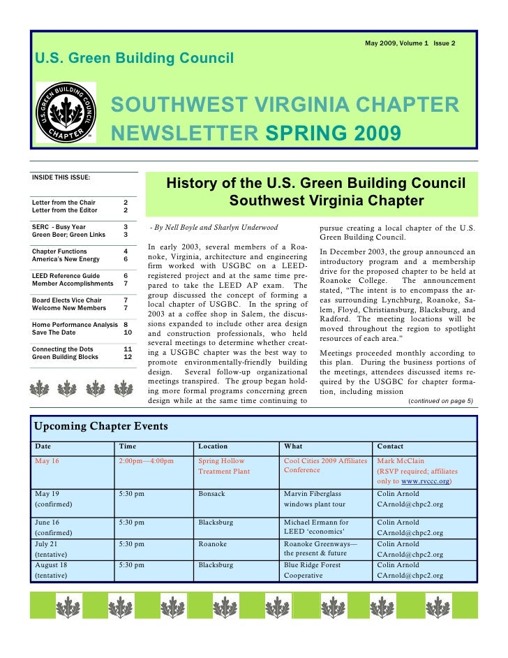 May 2009, Volume 1 Issue 2  U.S. Green Building Council                             SOUTHWEST VIRGINIA CHAPTER            ...