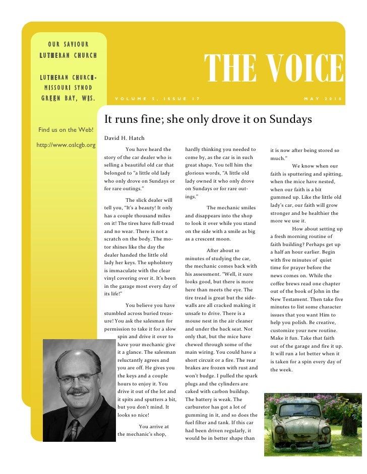 OUR SAVIOUR                                                                          THE VOICE  LUTHERAN CHURCH    LUTHERA...