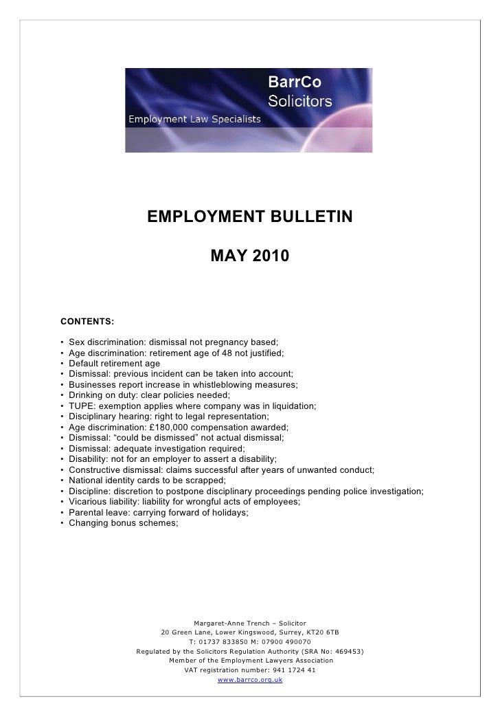 -                            EMPLOYMENT BULLETIN                                           MAY 2010   CONTENTS:  •   Sex d...