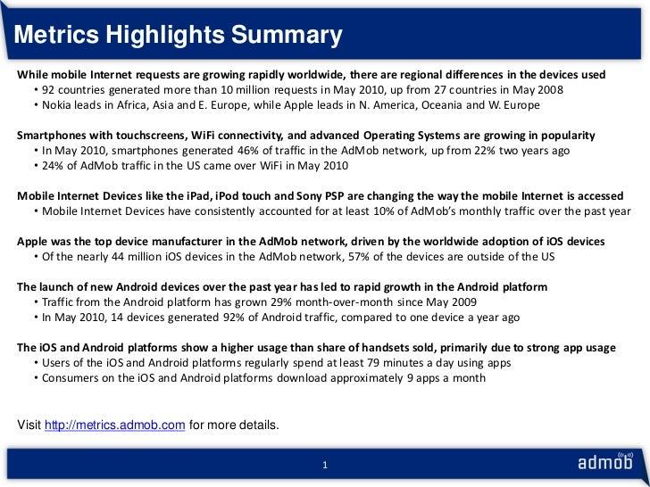 AdMob Mobile Metrics - May 2010 - Highlights Slide 2