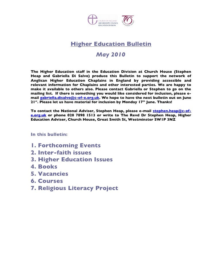 Higher Education Bulletin                                    May 2010  The Higher Education staff in the Education Divisio...