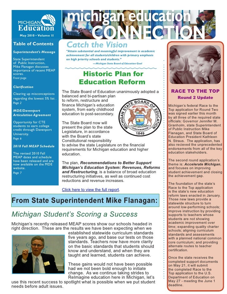 """May 2010 • Volume 1I  Table of Contents                  Catch the Vision Superintendent's Message           """"Attain subst..."""
