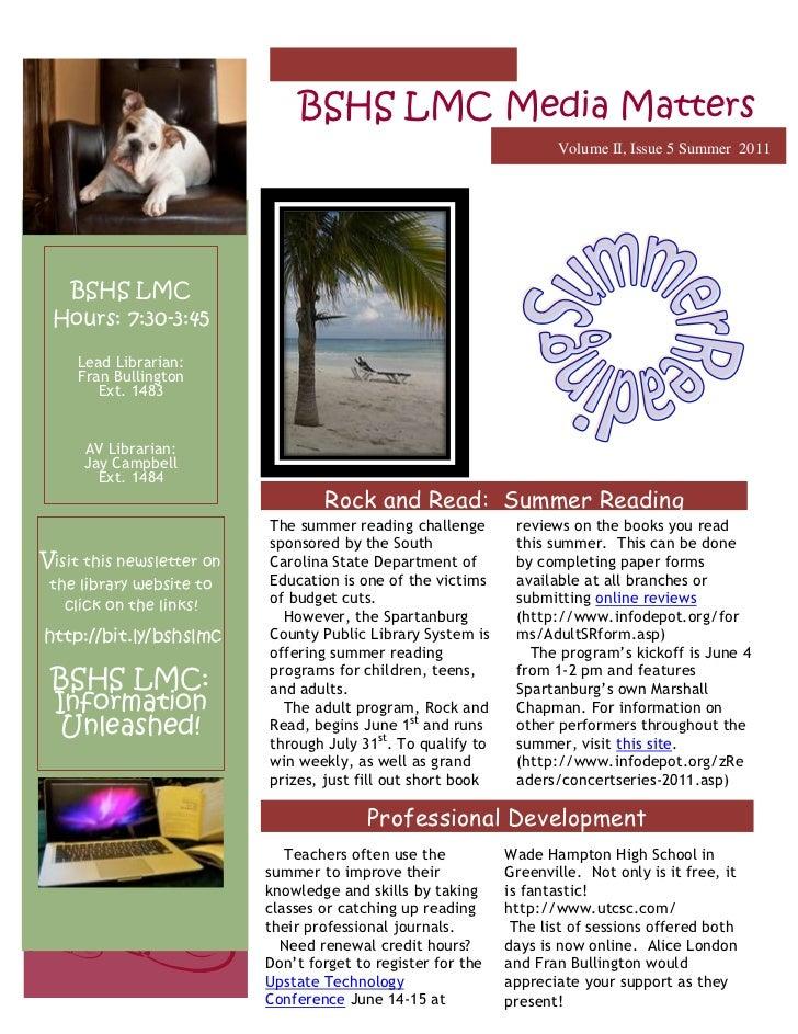 -2061982114300BSHS LMC Media MattersVolume II, Issue 5 Summer  2011<br />   BSHS LMCHours: 7:30-3:45Lead Librarian:  Fran ...