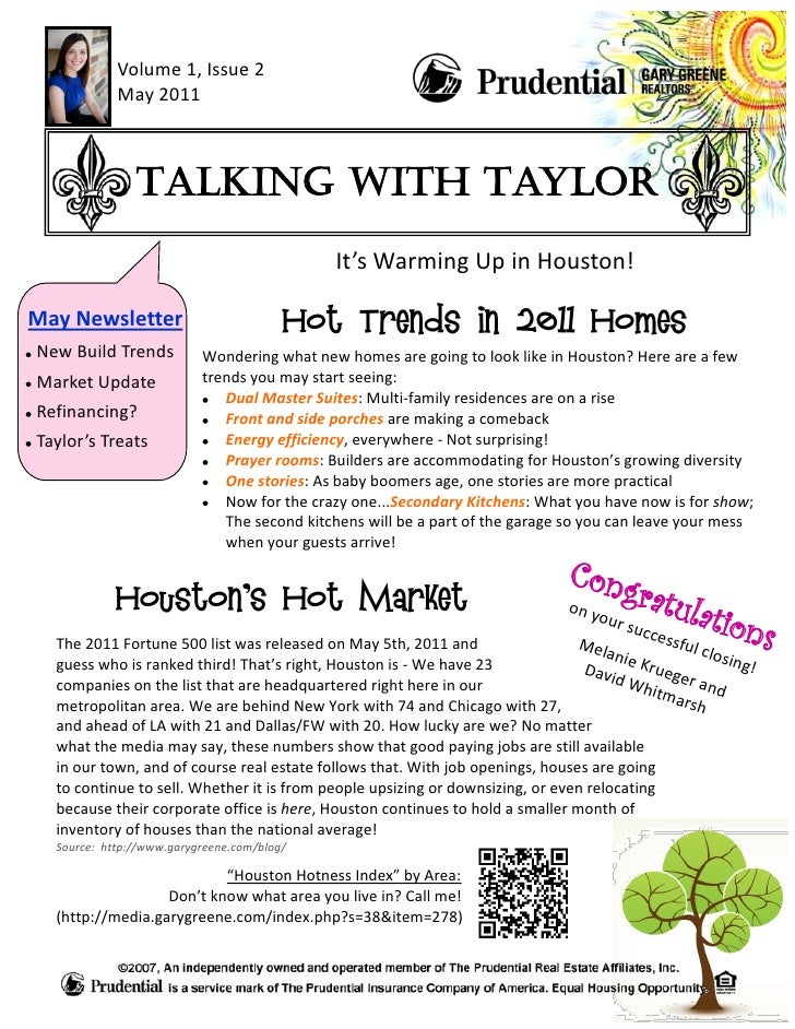 Volume 1, Issue 2            May 2011               Talking with Taylor                                            It's Wa...