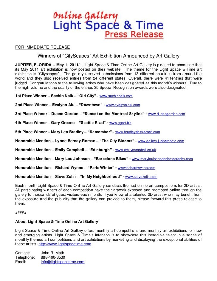 "FOR IMMEDIATE RELEASE             Winners of ""CityScapes"" Art Exhibition Announced by Art GalleryJUPITER, FLORIDA – May 1,..."