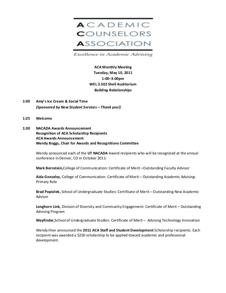 ACA Monthly Meeting<br />Tuesday, May 10, 2011<br />1:00–3:00pm<br />WEL 3.502 Shell Auditorium<br />Building Relationship...