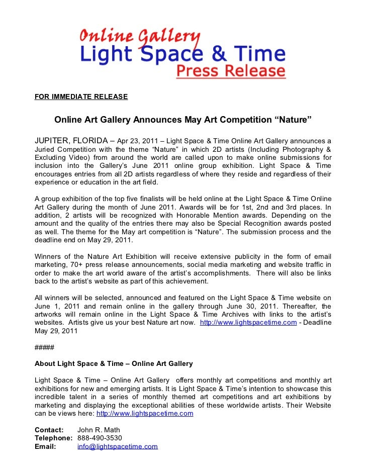 """FOR IMMEDIATE RELEASE      Online Art Gallery Announces May Art Competition """"Nature""""JUPITER, FLORIDA – Apr 23, 2011 – Ligh..."""