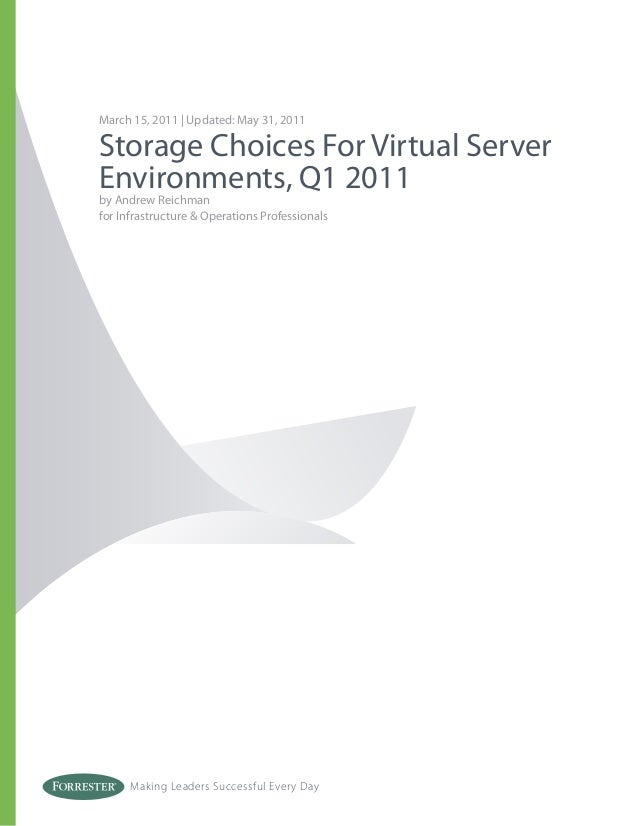 Making Leaders Successful Every Day March 15, 2011 | Updated: May 31, 2011 Storage Choices For Virtual Server Environments...