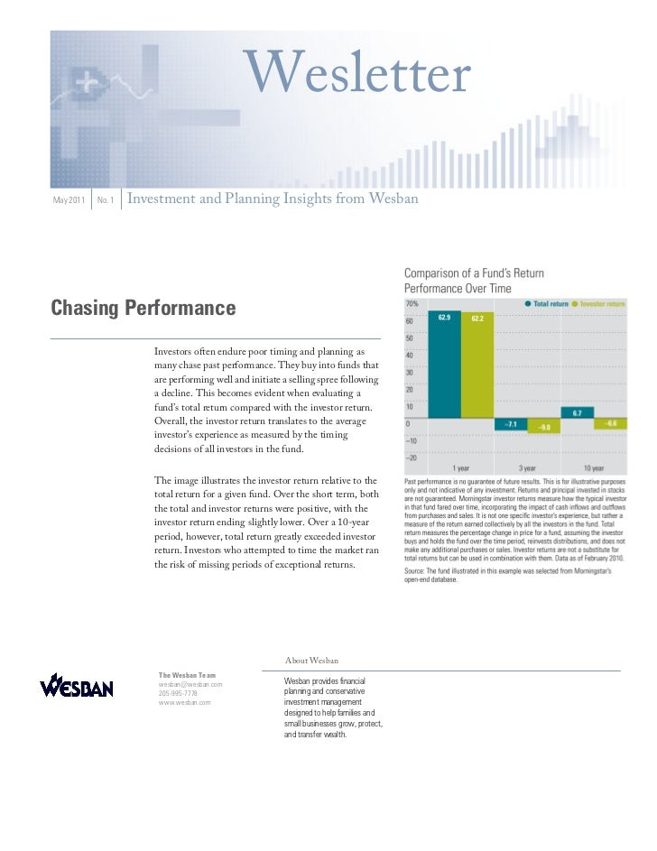 WesletterMay 2011   No. 1   Investment and Planning Insights from WesbanChasing Performance                       Investor...