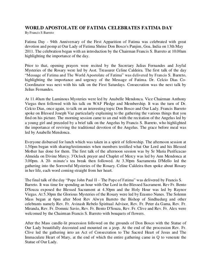 WORLD APOSTOLATE OF FATIMA CELEBRATES FATIMA DAY<br />By Francis S Barreto<br />Fatima Day - 94th Anniversary of the First...