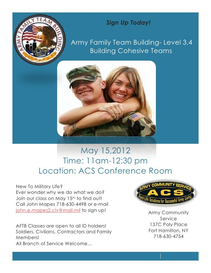 Sign Up Today!                        Army Family Team Building- Level 3.4                             Building Cohesive T...