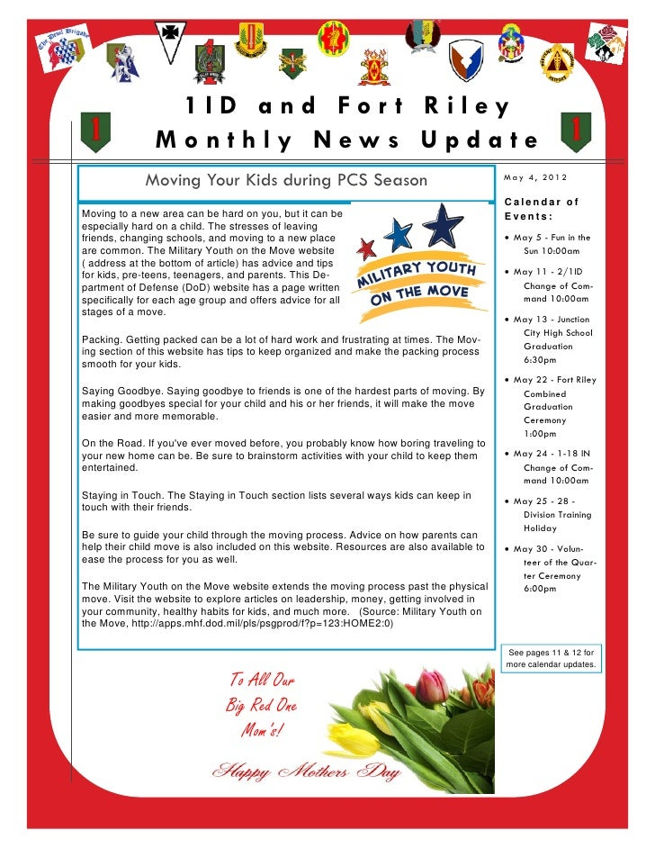 1ID and For t Riley                    Monthly News Update                 Moving Your Kids during PCS Season             ...