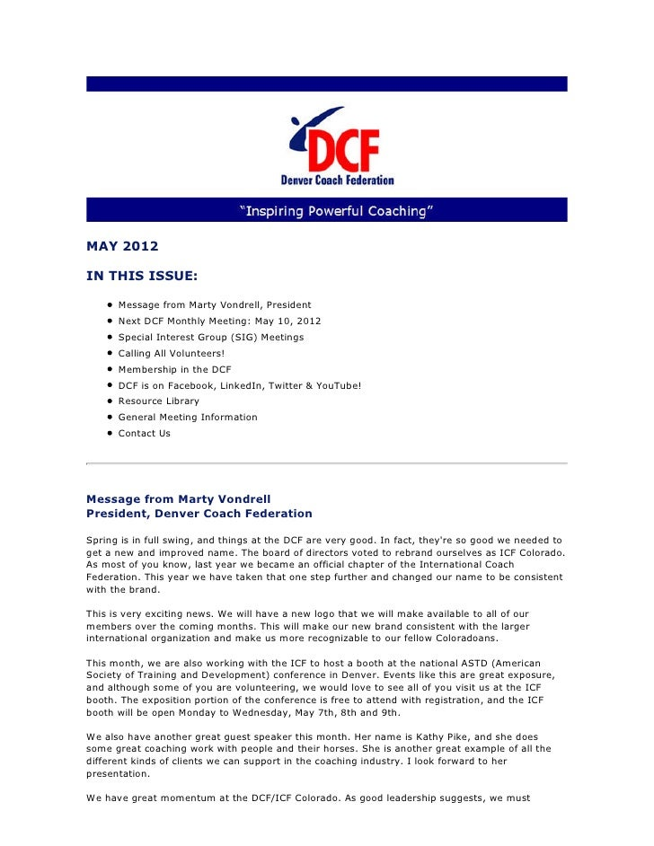 MAY 2012IN THIS ISSUE:      Message from Marty Vondrell, President      Next DCF Monthly Meeting: May 10, 2012      Specia...