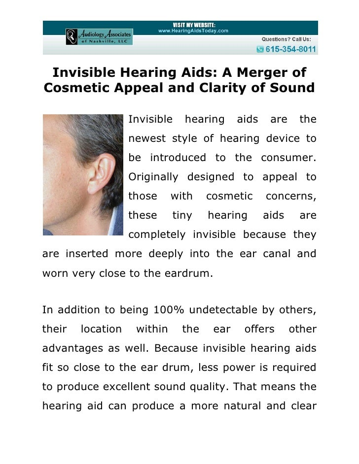 Invisible Hearing Aids: A Merger ofCosmetic Appeal and Clarity of Sound                   Invisible   hearing      aids   ...