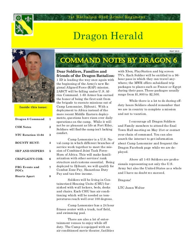 Dragon Herald1st Battalion 63rd Armor RegimentDragon 6 Command 1CSM Notes 2NTC Rotation 13-04 3BOUNTY HUNT- 4SRP AND SNIPE...