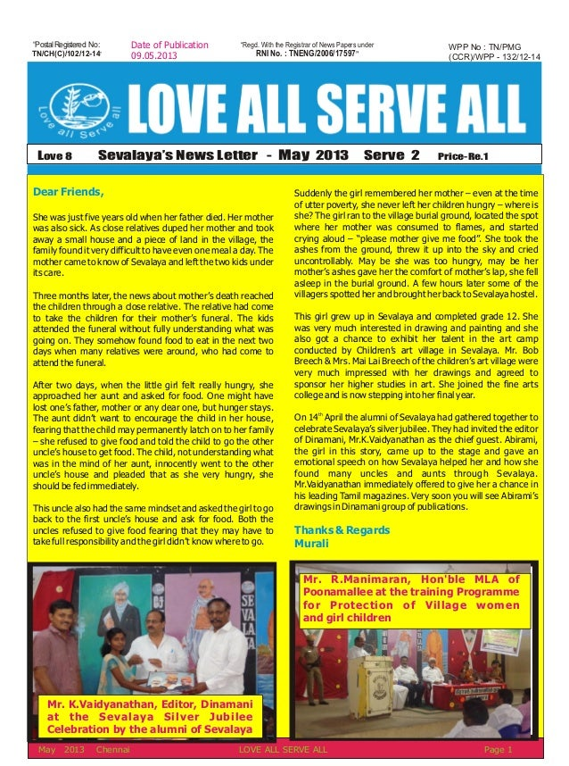 May 2013 news letter 2013