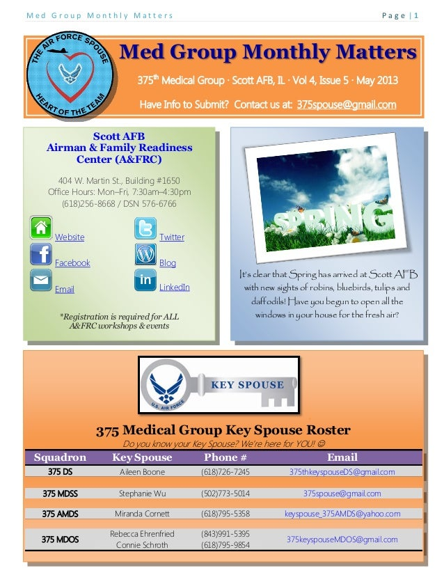 M e d G r o u p M o n t h l y M a t t e r s P a g e   1Med Group Monthly Matters375thMedical Group ∙ Scott AFB, IL ∙ Vol 4...