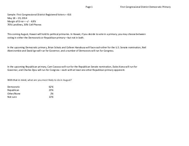 Page  1 First  Congressional  District  Democratic  Primary Sample:  First  Congressional  District  Reg...