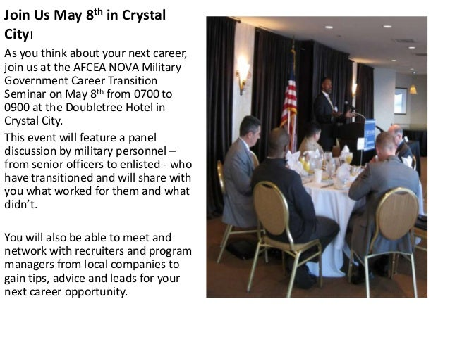 Join Us May 8th in Crystal City! As you think about your next career, join us at the AFCEA NOVA Military Government Career...
