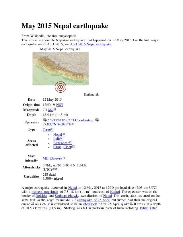 May 2015 nepal earthquake s