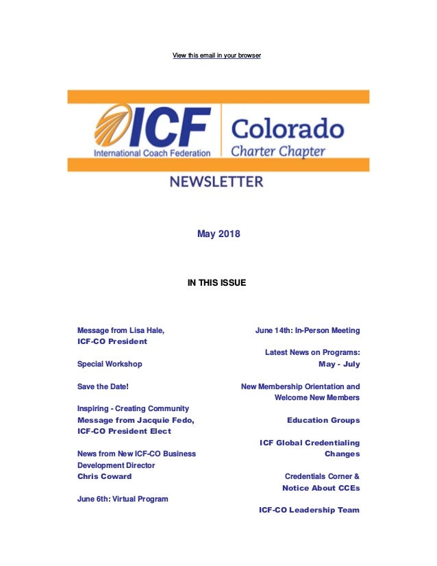 View this email in your browser May 2018 IN THIS ISSUE Message from Lisa Hale, ICF-CO President Special Workshop Save the ...