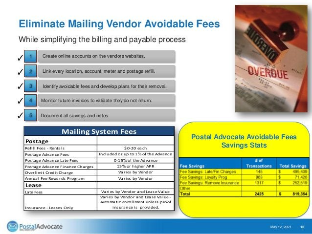 Eliminate Mailing Vendor Overcharges May 12, 2021 13 Continue to monitor future bills looking for overcharges. Document al...