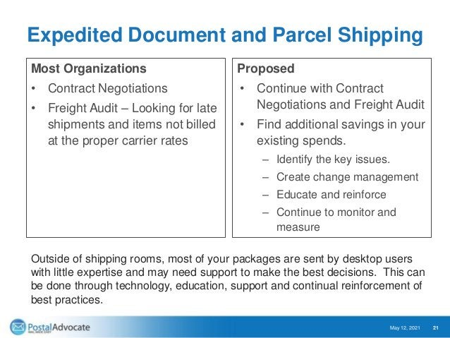 Rate Shopping Savings Opportunities May 12, 2021 22 Client Example Savings Strategy # of Packages Shipping Cost New Cost S...