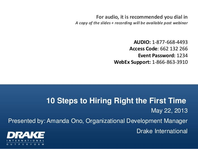 10 Steps to Hiring Right the First TimeMay 22, 2013Presented by: Amanda Ono, Organizational Development ManagerDrake Inter...