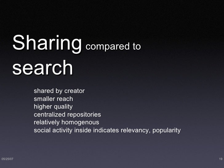 Sharing  compared to   search <ul><li>shared by creator </li></ul><ul><li>smaller reach </li></ul><ul><li>higher quality <...