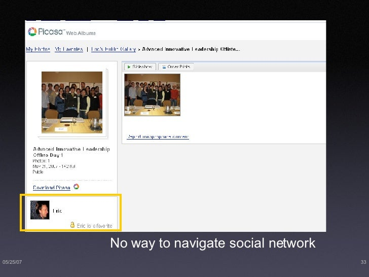 No way to navigate social network