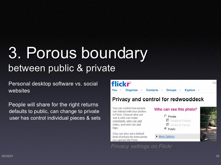 3. Porous boundary  between public & private <ul><li>Personal desktop software vs. social websites </li></ul><ul><li>Peopl...