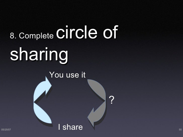 8. Complete  circle of sharing I share  You use it ?
