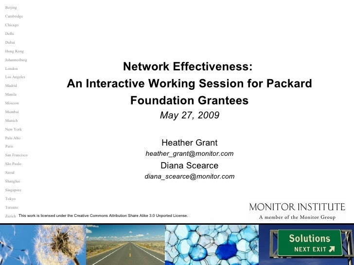 Network Effectiveness:  An Interactive Working Session for Packard Foundation Grantees May 27, 2009 Heather Grant [email_a...