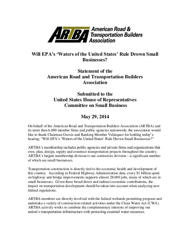 Will EPA's 'Waters of the United States' Rule Drown Small Businesses? Statement of the American Road and Transportation Bu...