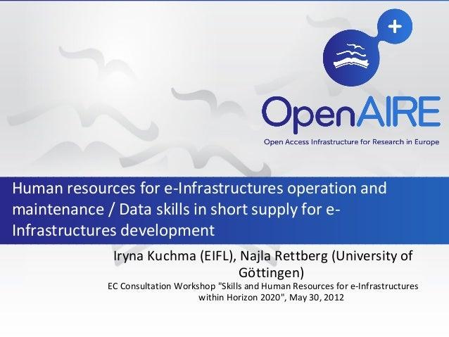 "Iryna Kuchma (EIFL), Najla Rettberg (University of Göttingen) EC Consultation Workshop ""Skills and Human Resources for e-I..."