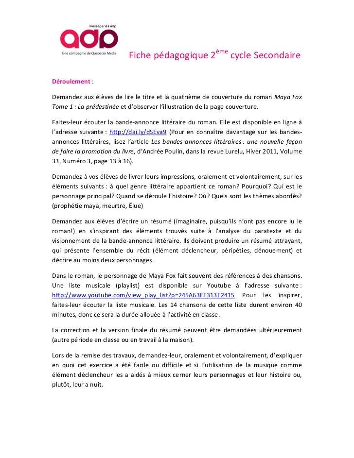 Maya Fox 2012 Tome 1: La prédestinée. Fiche pédagogique 2ème