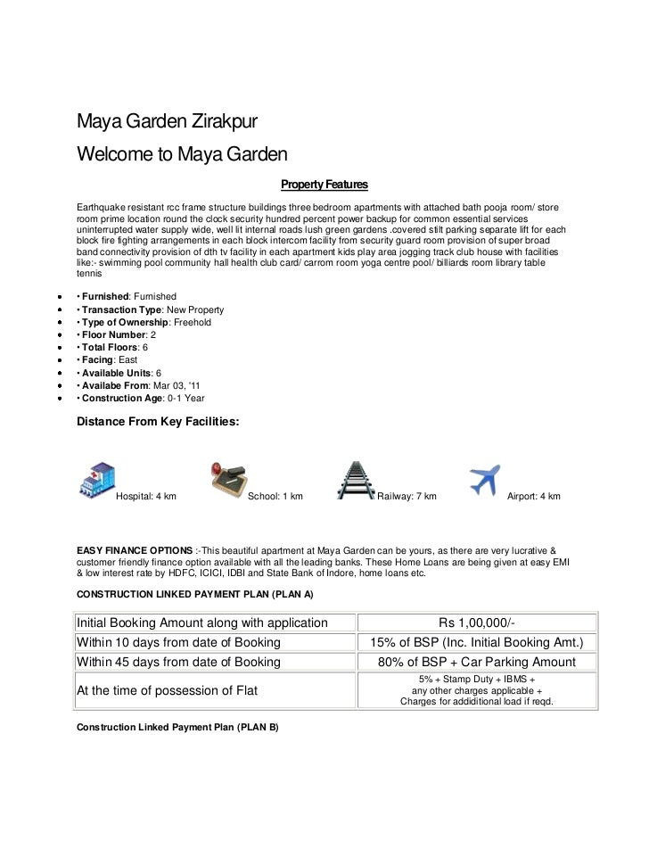 Maya Garden Zirakpur<br />Welcome to Maya Garden<br />Property Features<br />Earthquake resistant rcc frame structure buil...