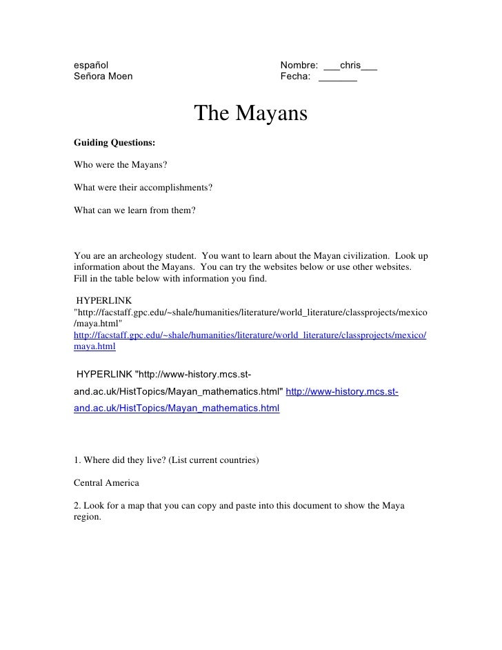 Maya intro worksheet gr 9 sept 09