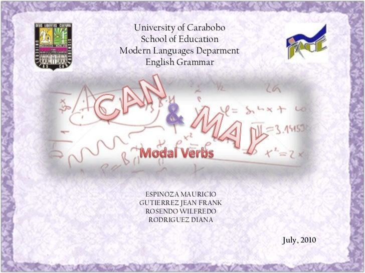 University of Carabobo    School of EducationModern Languages Deparment     English Grammar     ESPINOZA MAURICIO    GUTIE...